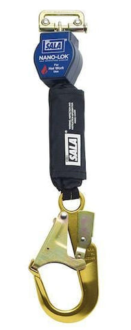 Nano-Lok™ Quick Connect Self Retracting Lifeline - For Hot Work Use - Rebar Hook/Quick Connector for Harness Mounting - Barry Cordage