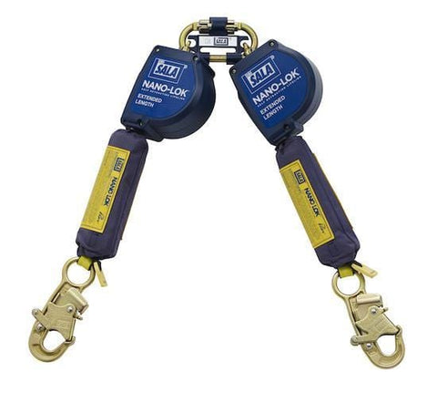 Nano-Lok™ Extended Length Twin-Leg Quick Connect Self Retracting Lifeline - Web 10 ft. (3m) snap hooks - Barry Cordage