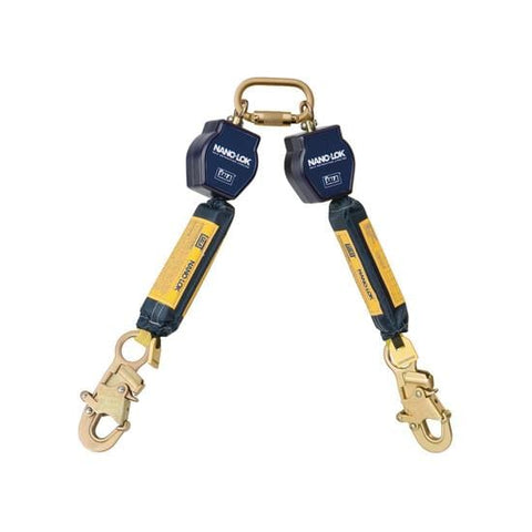 Nano-Lok™ Twin-Leg Quick Connect Fixed D-ring Self Retracting Lifeline - Web - 2X Snap Hook - Barry Cordage