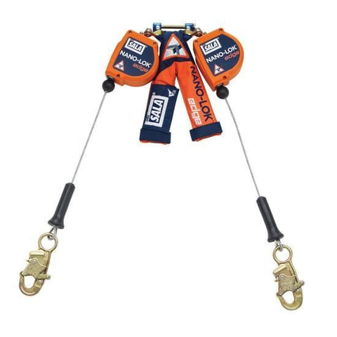 Nano-Lok™ Edge Twin-Leg Quick Connect Self Retracting Lifeline 8 ft. (2.4m)- Cable 8 ft. (2.4m) galvanized steel wire rope and snap hooks