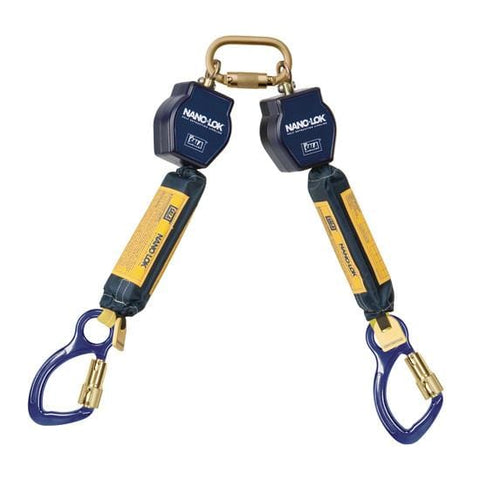 Nano-Lok™ Twin-Leg Quick Connect Fixed D-ring Self Retracting Lifeline - Web - 2X Aluminum Carabiner - Barry Cordage