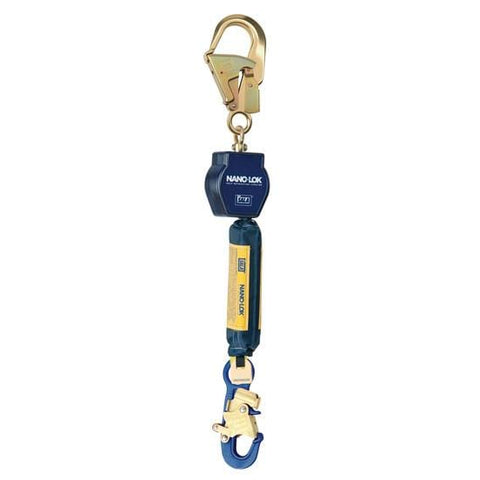 Nano-Lok™ Self Retracting Lifeline with Anchor Hook - Web - Swiveling Aluminum Rebar Hook/Aluminum Snap Hook - Barry Cordage