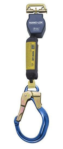 Nano-Lok™ Quick Connect Self Retracting Lifeline - Web - Locking Gate/Nose Aluminum Rebar Hook - Barry Cordage