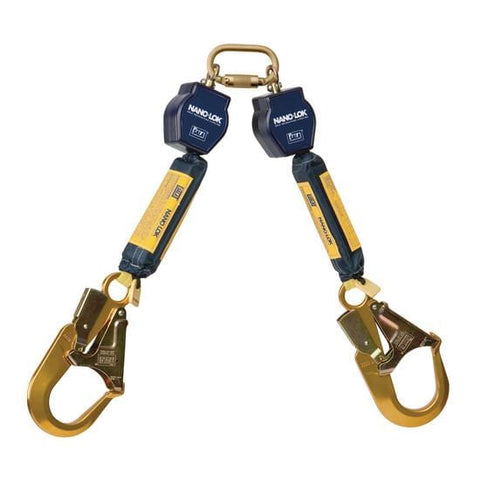 Nano-Lok™ Twin-Leg Quick Connect Fixed D-ring Self Retracting Lifeline - Web - 2X Aluminum Rebar Hook - Barry Cordage