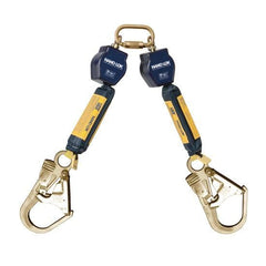 Nano-Lok™ Twin-Leg Quick Connect Fixed D-ring Self Retracting Lifeline - Web - 2X Steel Rebar Hook - Barry Cordage
