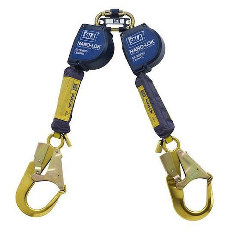 Nano-Lok™ Extended Length Twin-Leg Quick Connect Self Retracting Lifeline - Web 9 ft. (2.74m) aluminum rebar hooks - Barry Cordage