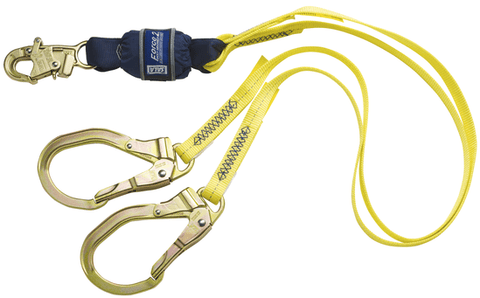 Force2™ 100% Tie-Off Shock Absorbing Lanyard - Steel rebar hooks