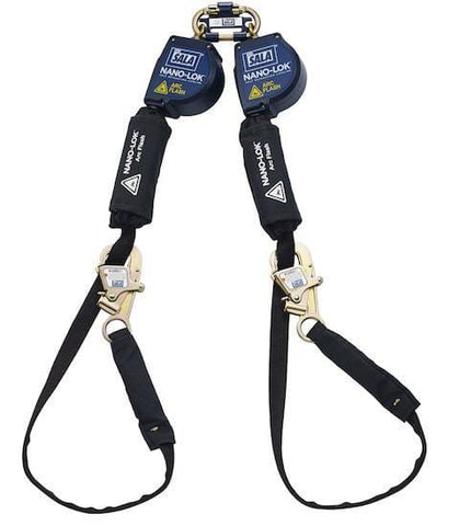 Nano-Lok™ Arc Flash Tie-Back Twin-Leg Quick Connect Self Retracting Lifeline 10 ft. (3m) - Web - Barry Cordage