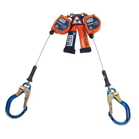 Nano-Lok™ Edge Twin-Leg Quick Connect Self Retracting Lifeline 8 ft. (2.4m) - Galvanized cable with aluminum rebar locking hooks - Barry Cordage