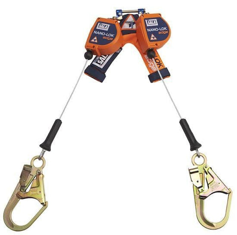 Nano-Lok™ Edge Twin-Leg Quick Connect Self Retracting Lifeline 8 ft. (2.4 m) - Galvanized cable with steel rebar hooks - Barry Cordage