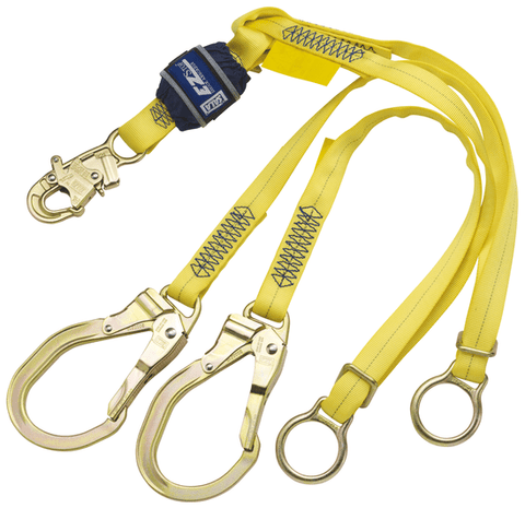 EZ-Stop™ Tie-Back 100% Tie-Off Shock Absorbing Lanyard 6 ft. (1.8m) - E4 with steel rebar hooks - Barry Cordage