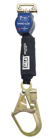 Nano-Lok™ Quick Connect Self Retracting Lifeline - For Hot Work Use - Steel Rebar Hook/Quick Connector for Harness Mounting