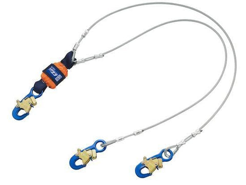 EZ-Stop™ Leading Edge 100% Tie-Off Cable Shock Absorbing Lanyard - Aluminum - Barry Cordage
