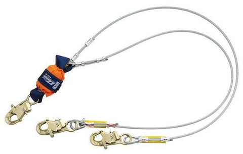 EZ-Stop™ Leading Edge 100% Tie-Off Cable Shock Absorbing Lanyard - Steel - Barry Cordage