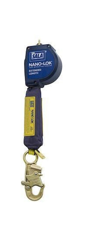 Nano-Lok™ Extended Length Self Retracting Lifeline - Web 10 ft. (3m) snap hook swiveling anchor loop - Barry Cordage