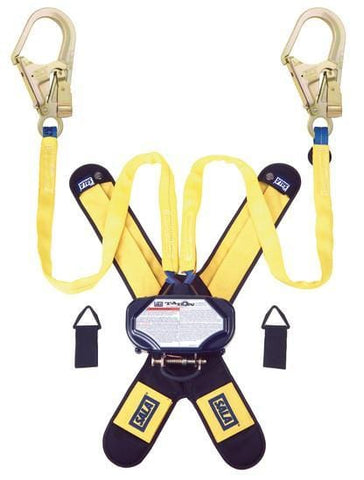 Talon™ Twin-Leg Tie-Back Quick Connect Self Retracting Lifeline - Web 7.5 ft. (2.3m) steel rebar hooks - Barry Cordage