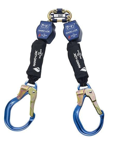 Nano-Lok™ Twin-Leg Quick Connect Self Retracting Lifeline - Web - For Hot Work Use - Aluminum Locking Rebar Hooks/Swiveling Anchor Loop - Barry Cordage