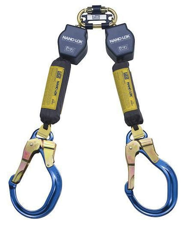 Nano-Lok™ Twin-Leg Quick Connect Self Retracting Lifeline - Web - 2X Locking Gate/Nose Aluminum Rebar Hook