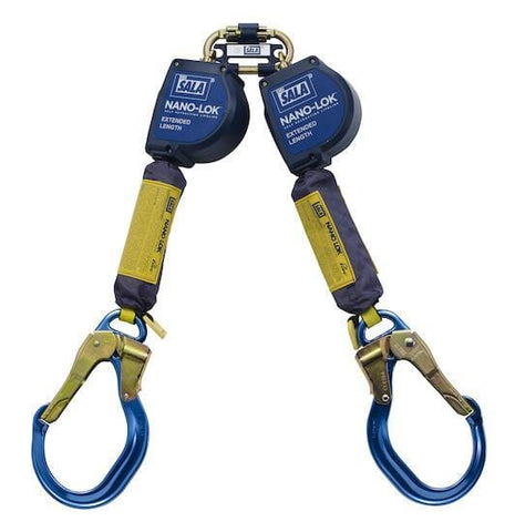 Nano-Lok™ Extended Length Twin-Leg Quick Connect Self Retracting Lifeline - Web 9 ft. (2.74m)  aluminum locking rebar hooks - Barry Cordage
