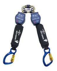 Nano-Lok™ Twin-Leg Quick Connect Self Retracting Lifeline - Web - For Hot Work Use - Aluminum Carabiners/Quick Connector for Harness Mounting - Barry Cordage