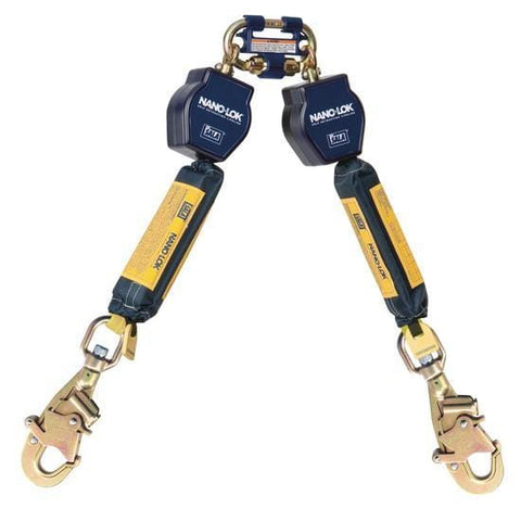 Nano-Lok™ Twin-Leg Quick Connect Self Retracting Lifeline - Web - 2X Swiveling Snap Hook - Barry Cordage