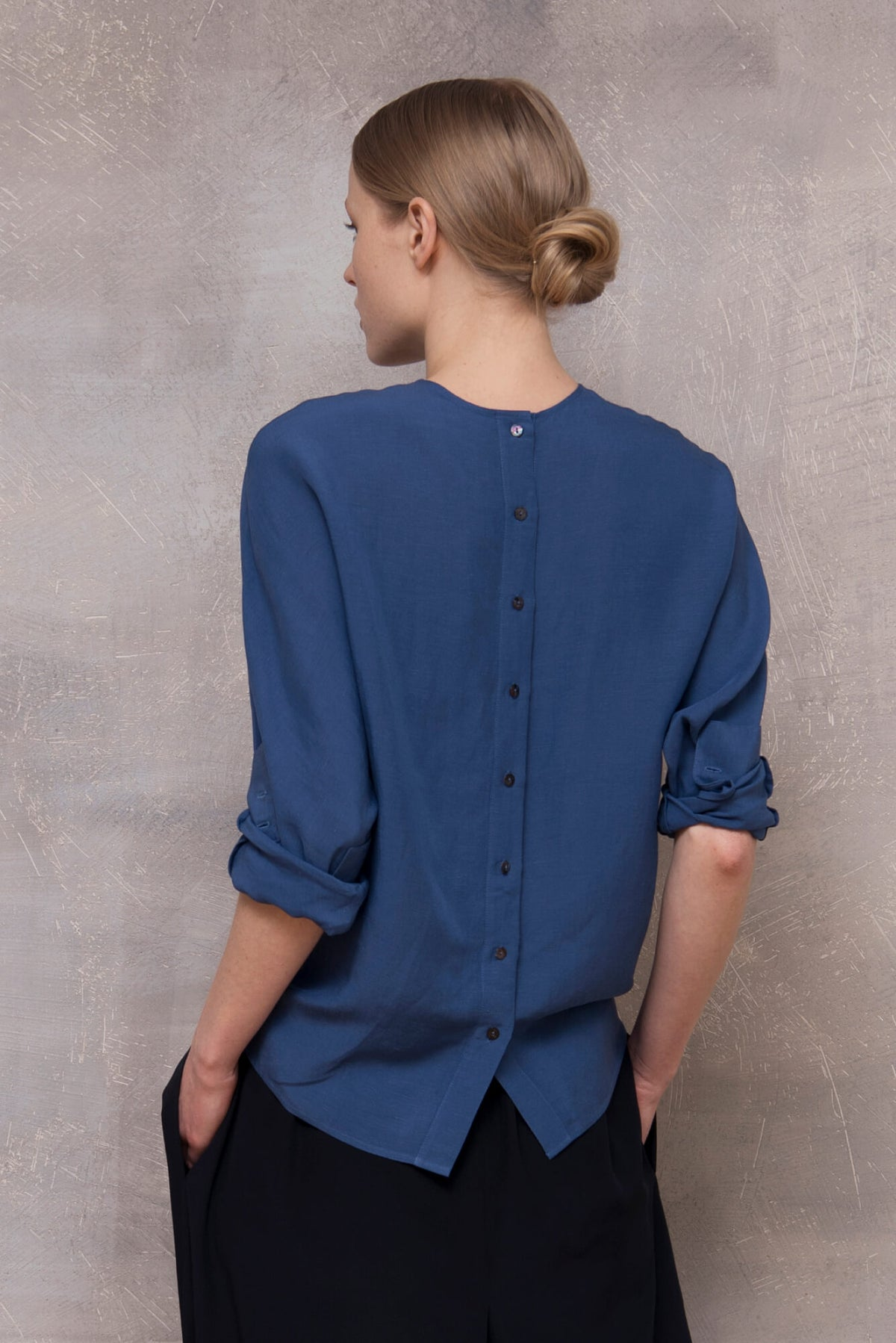 Linen blend Button Back Blouse