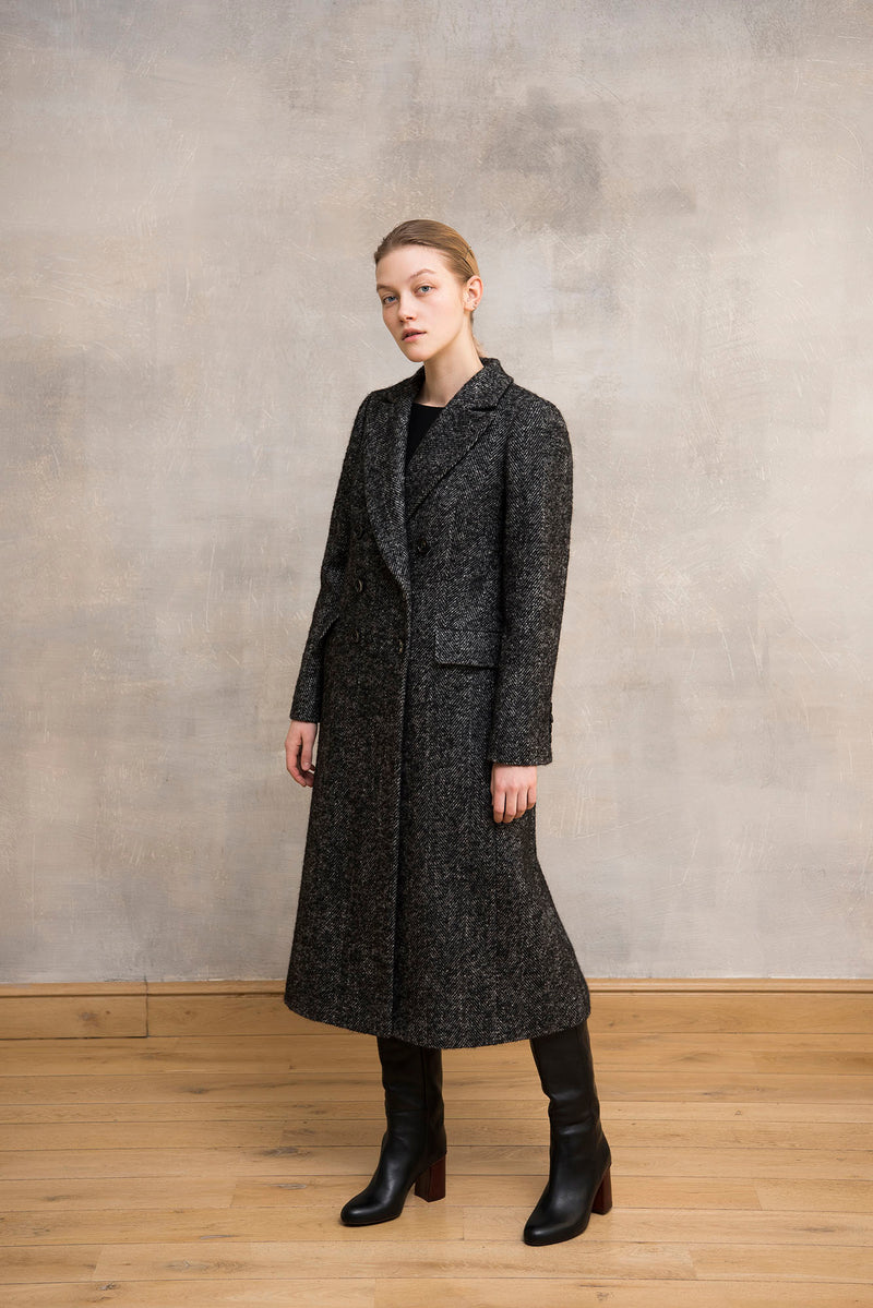 Herringbone Wool Coat