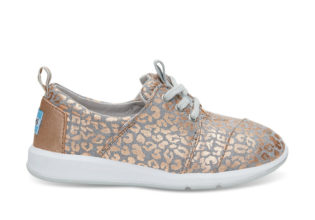 Toms Grey Chambray/Cheetah Youth Delrey Sneaker