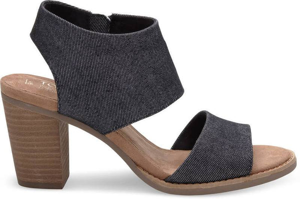 Toms Black Denim Majorca Cutout Sandals