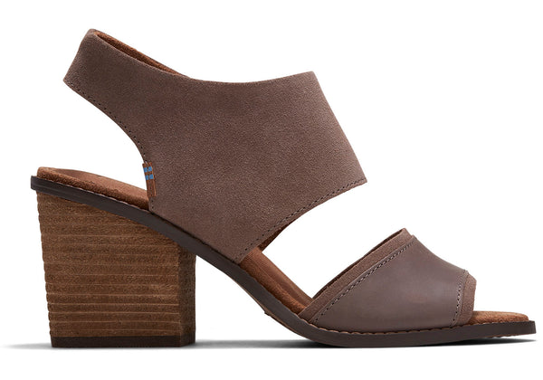 TOMS Taupe Grey Suede Vegetable Tanned Leather Womens Majorca Sandals