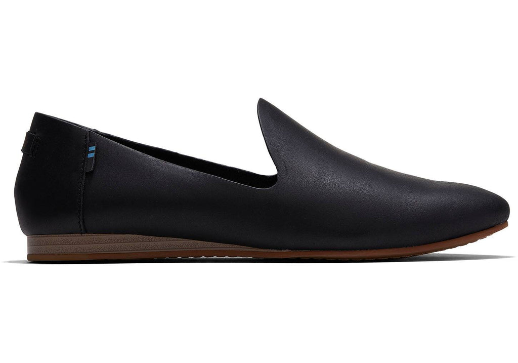 TOMS Black Vegetable Tanned Leather Womens Darcy Flats