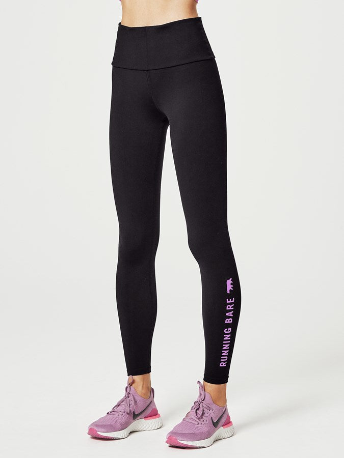 "Running Bare What Wots AB-Waist Tights 28"" Blk/Mauve"