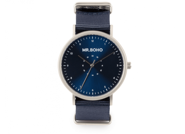 Mr Boho Metallic Casual Iron Blue Watch