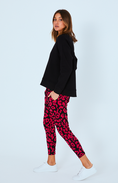 Cartel & Willow Kenji Comeback Pants Fuchsia Leopard