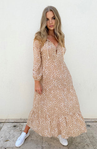 Cartel & Willow Cali Rope Maxi Dress Tan Leopard (PRE ORDER)
