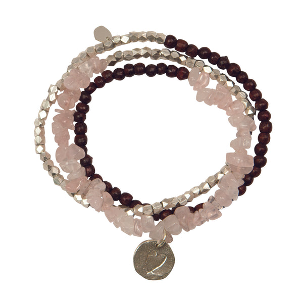 A Beautiful Story - Flair Rose Quartz Silver Bracelet