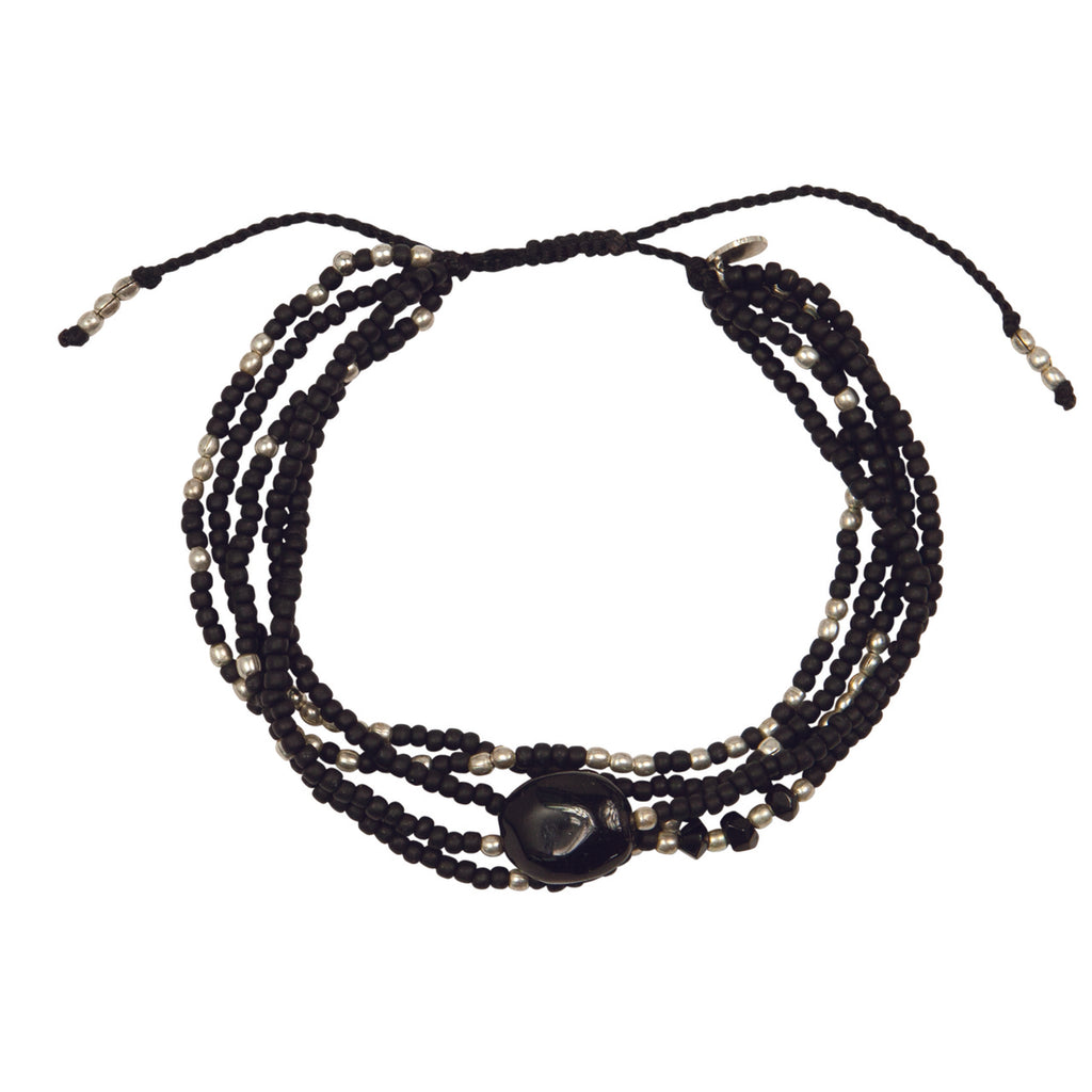 A Beautiful Story - Blossom Black Onyx Silver Bracelet