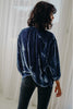 Foundling Silk Road Velvet Button Blouse Blue Spruce