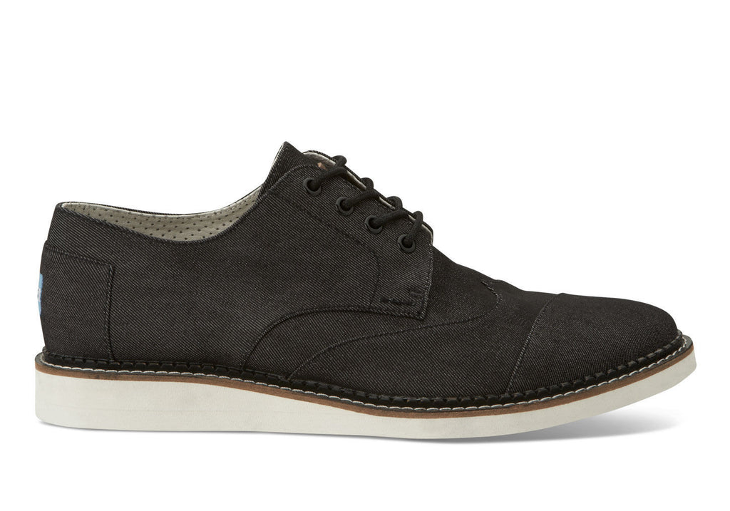 Toms Black Denim Mens Brogues