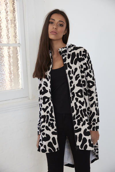 Cartel & Willow Ida Long Zip Up Grey Marle Leopard
