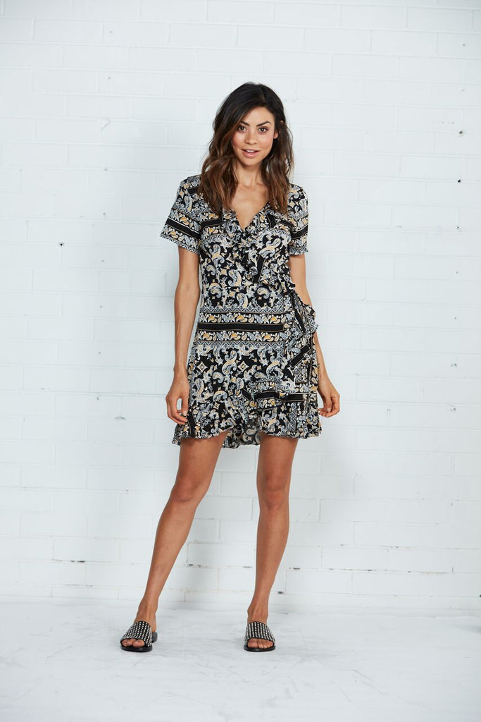 Cartel & Willow Floyd Short Sleeve Black Wrap Dress