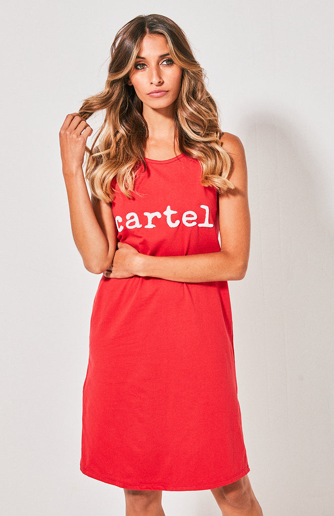 Cartel & Willow Beaded Tank Dress Red