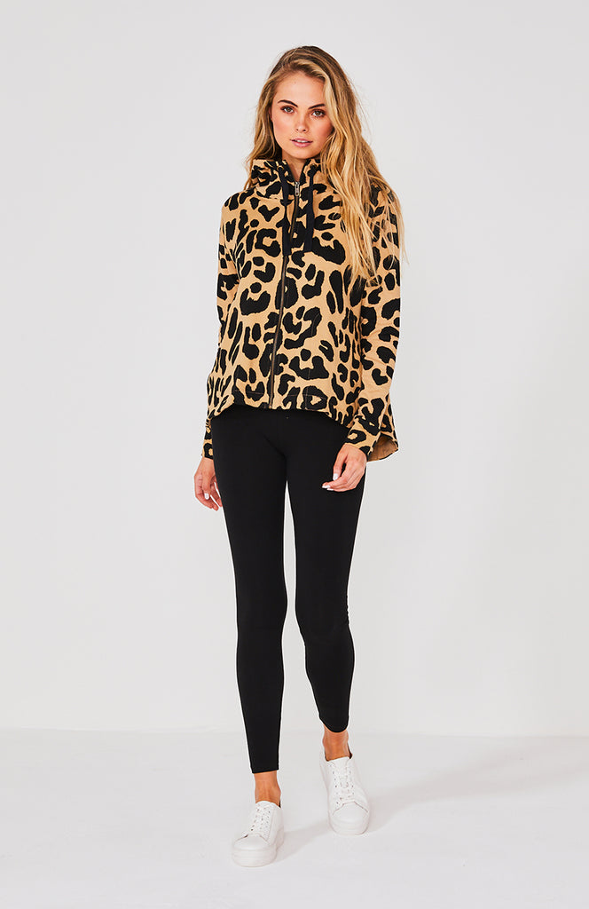 Cartel & Willow Dion Zip Up Hoodie Taupe Leopard