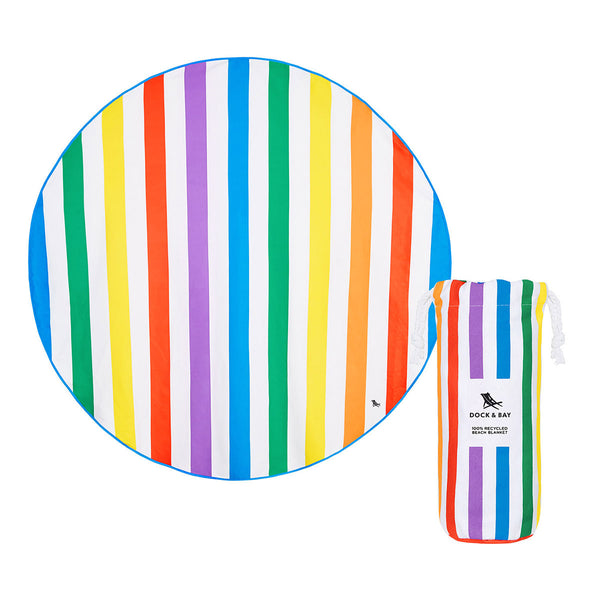 Dock & Bay Beach Towel Round Rainbow Skies