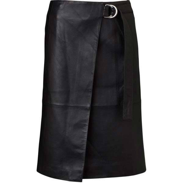 Ena Pelly Wrap Leather Skirt