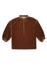 Foundling Silk Velvet Button Blouse Amber