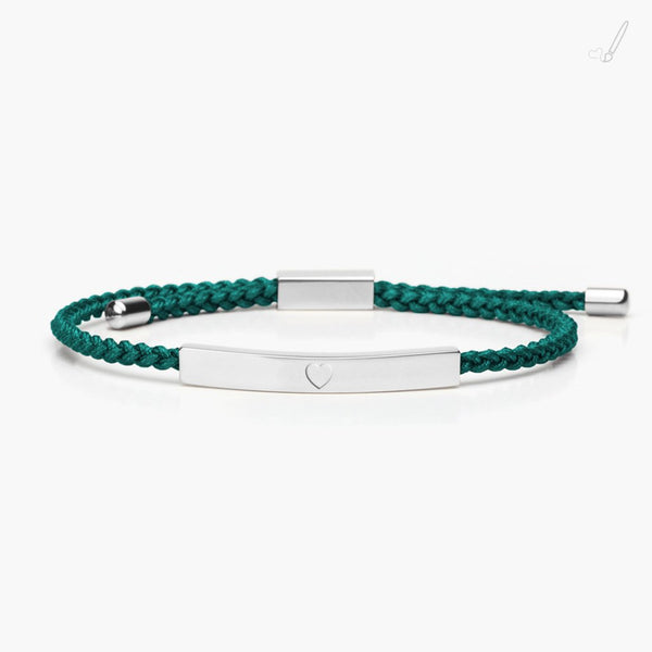 tmc - Reminder Braid - Heart Silver - Emerald