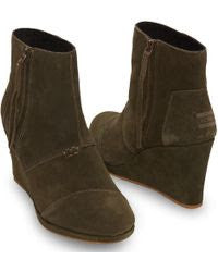 Toms Olive Suede High Desert Wedge