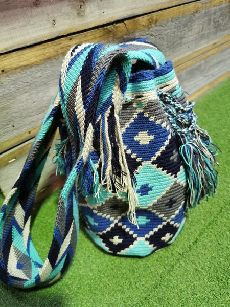 Casa Bonita Multicolor Wayuu Mochilas Crossbody Bag Blue
