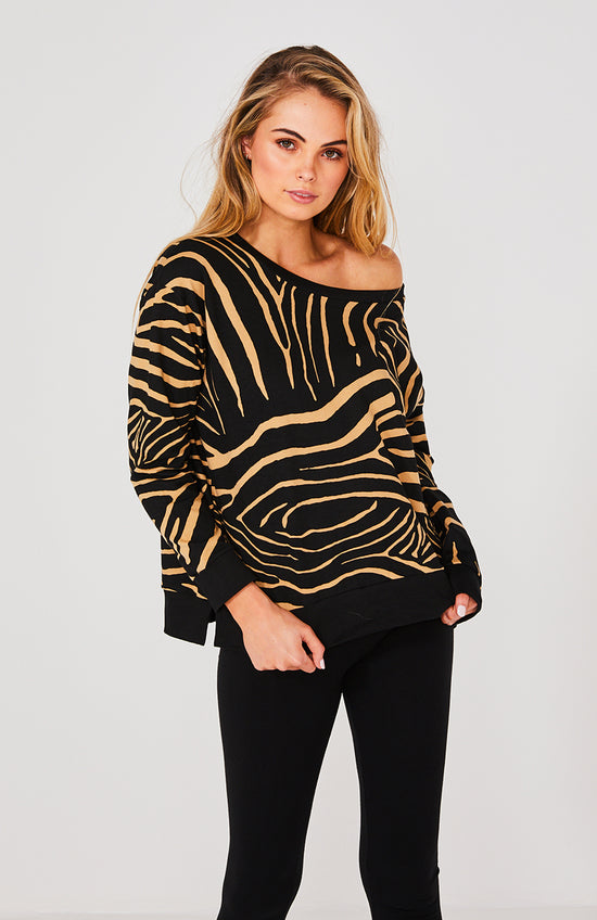 Cartel & Willow Kingston Taupe Zebra Sweater